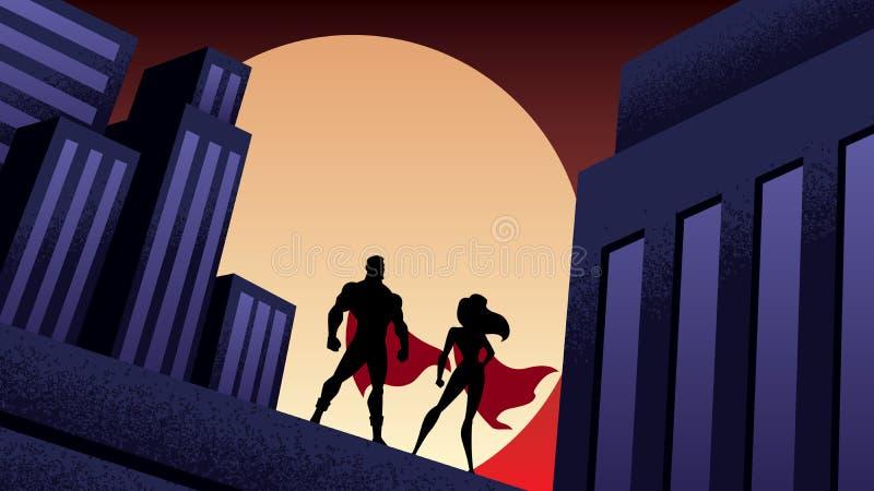 超级英雄夫妇城市夜 向量例证