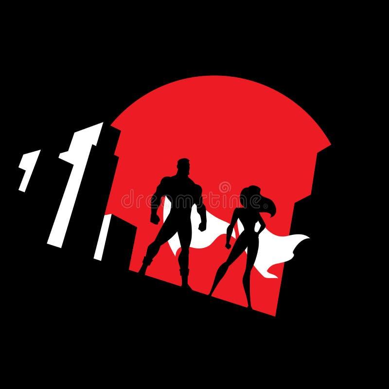超级英雄夫妇背景标志 库存例证