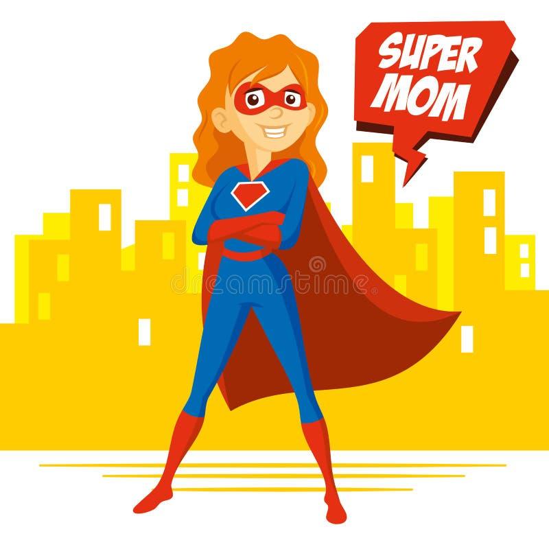 超级英雄妇女Supermom卡通人物传染媒介例证 库存例证