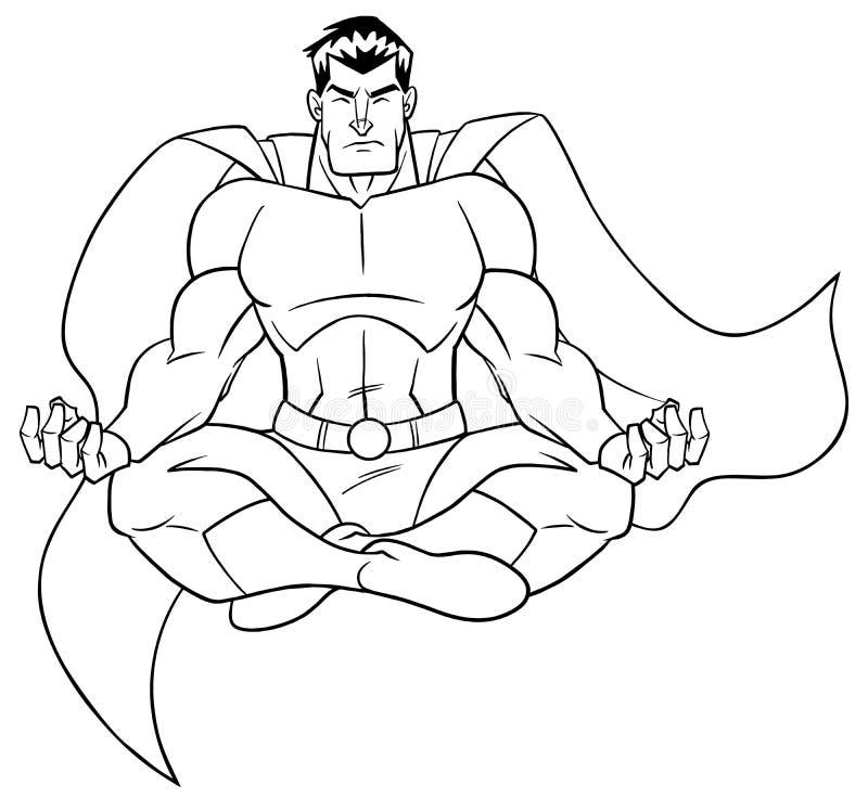 超级英雄思考的线艺术 皇族释放例证