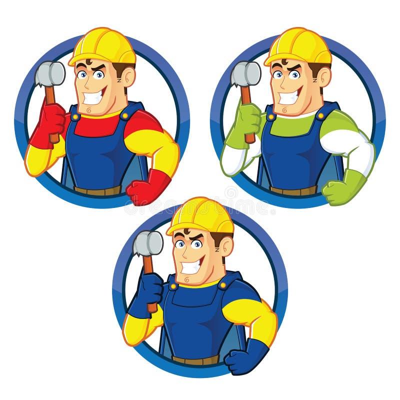 超级英雄拿着锤子的建筑人 向量例证