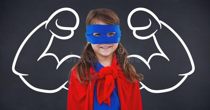 超级英雄服装的女孩反对被屈曲的胳膊背景 向量例证