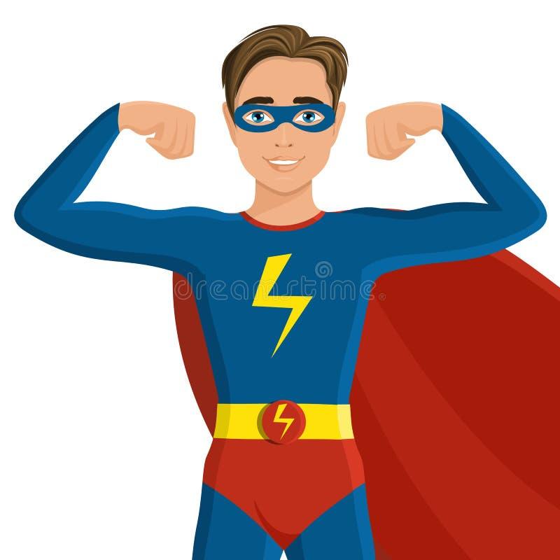 超级英雄服装的男孩 库存例证