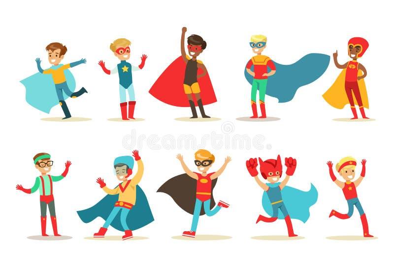 超级英雄服装集合的男孩,逗人喜爱的矮小的超级孩子导航在白色背景的例证 向量例证