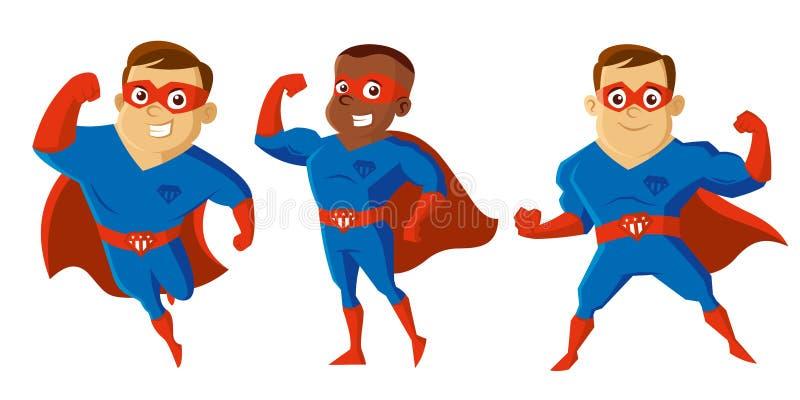 超级英雄漫画人物 向量例证