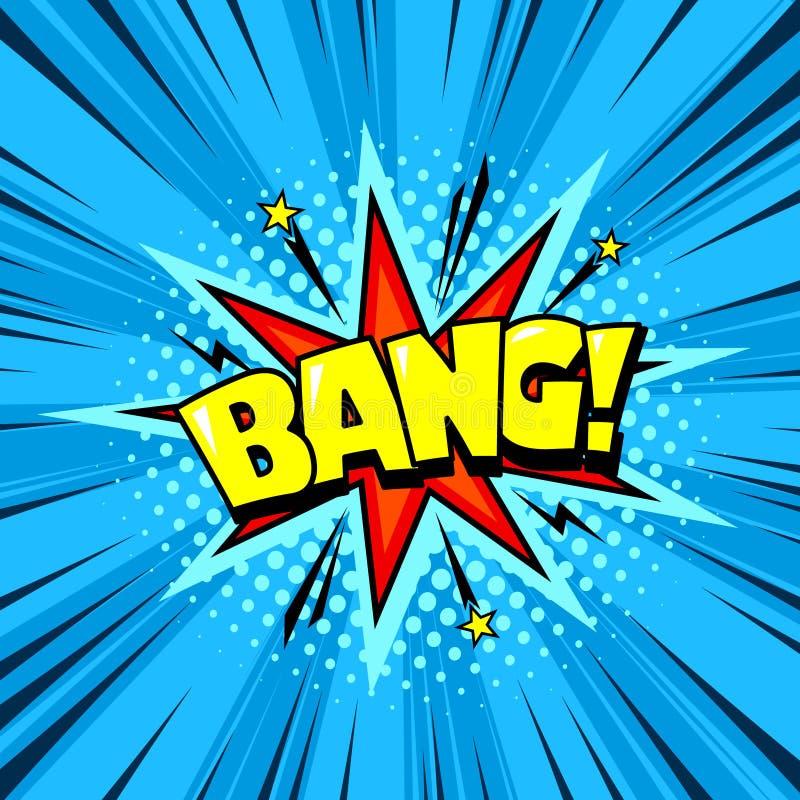 超级英雄漫画书讲话泡影,爆炸音响效果 库存例证