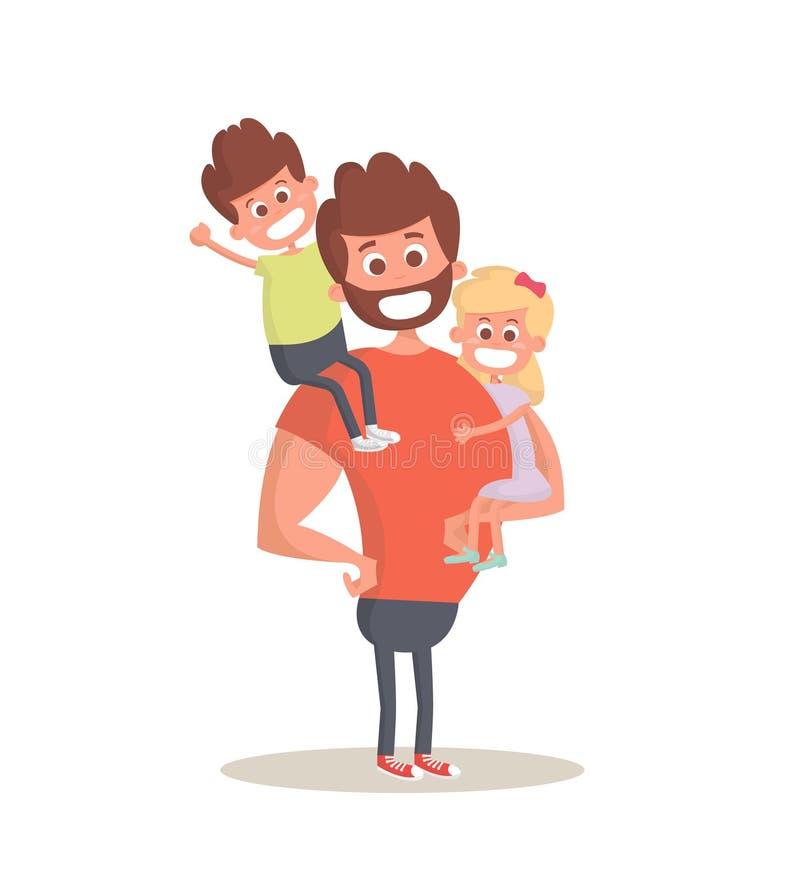 超级英雄爸爸概念 抱他的两个孩子的坚强的爸爸 平的样式象 也corel凹道例证向量 库存例证