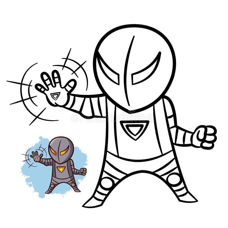 超级英雄男孩铁彩图 在白色背景隔绝的喜剧人物 库存例证