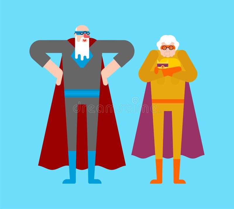 超级英雄祖父母和狗 斗篷和面具的超级祖父母 超级大国老人 祖父和祖母动画片 库存例证