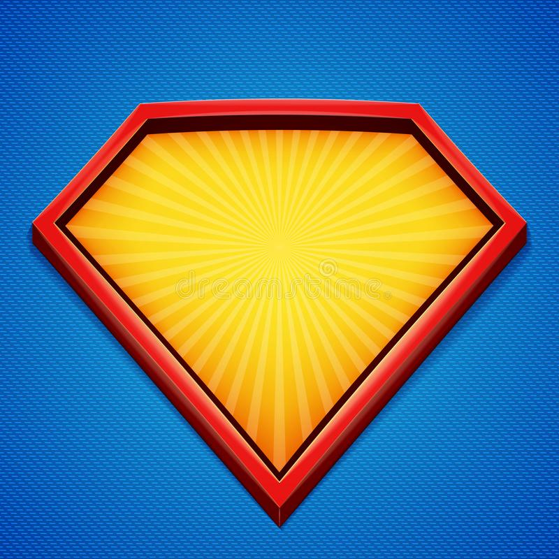 超级英雄背景 超级英雄商标模板 与分歧光芒的红色,黄色框架在蓝色背景 也corel凹道例证向量 向量例证