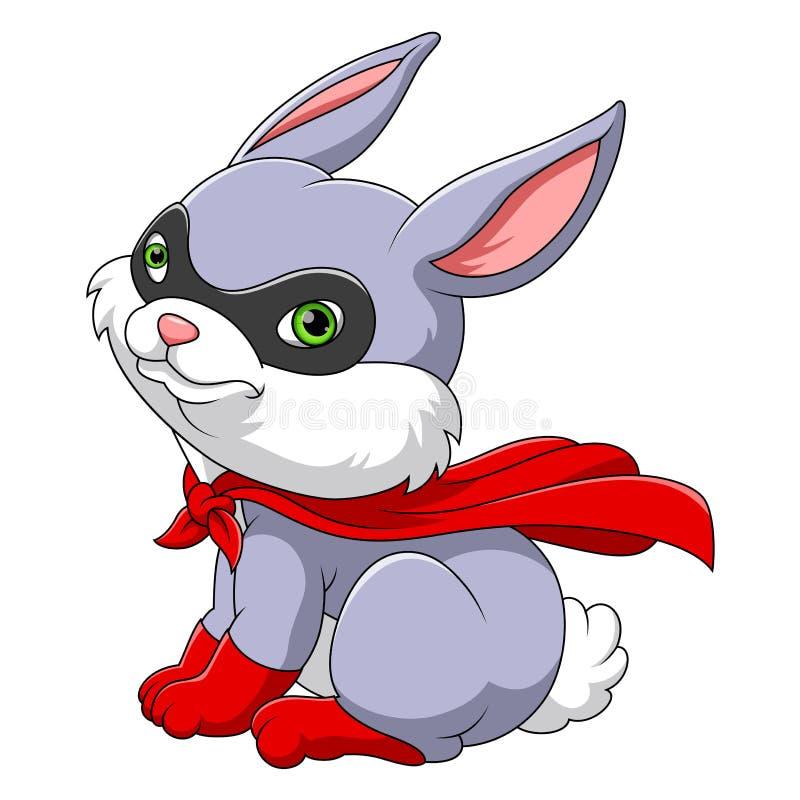 超级英雄逗人喜爱的兔子 库存例证