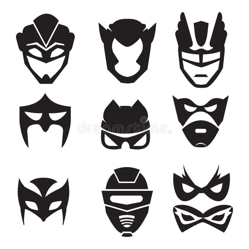 超级英雄面具黑剪影  被设置的传染媒介单色例证 向量例证