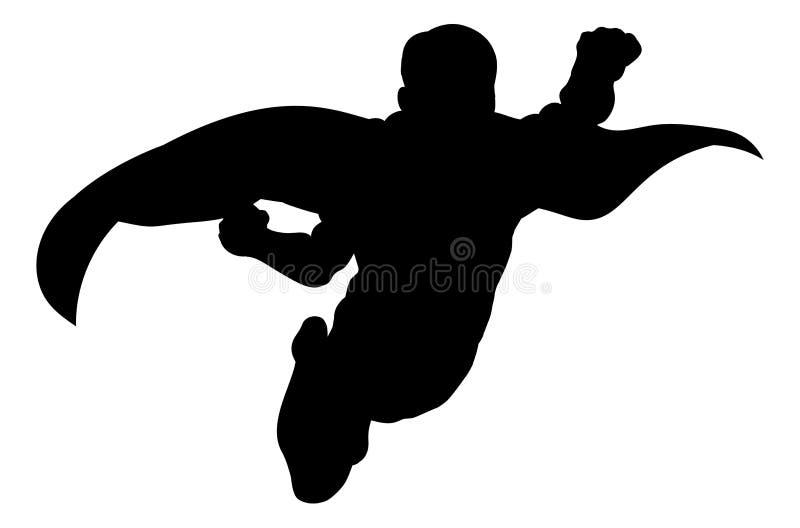 超级英雄飞行剪影 向量例证