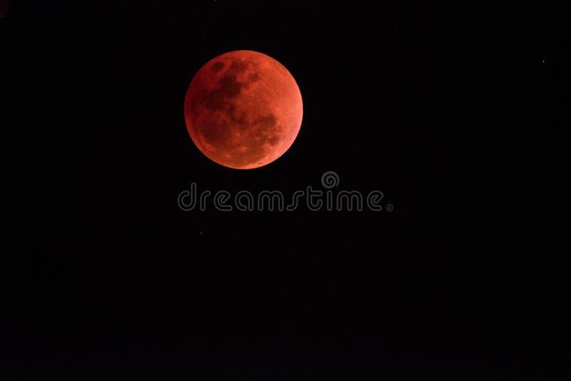 超级血液月亮在夜2018年1月31日, 免版税库存照片