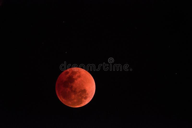 超级血液月亮在夜2018年1月31日, 免版税图库摄影