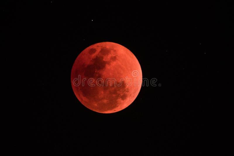 超级血液月亮在夜2018年1月31日, 图库摄影
