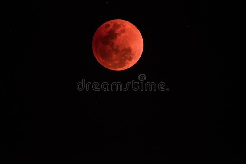超级血液月亮在夜2018年1月31日, 库存图片