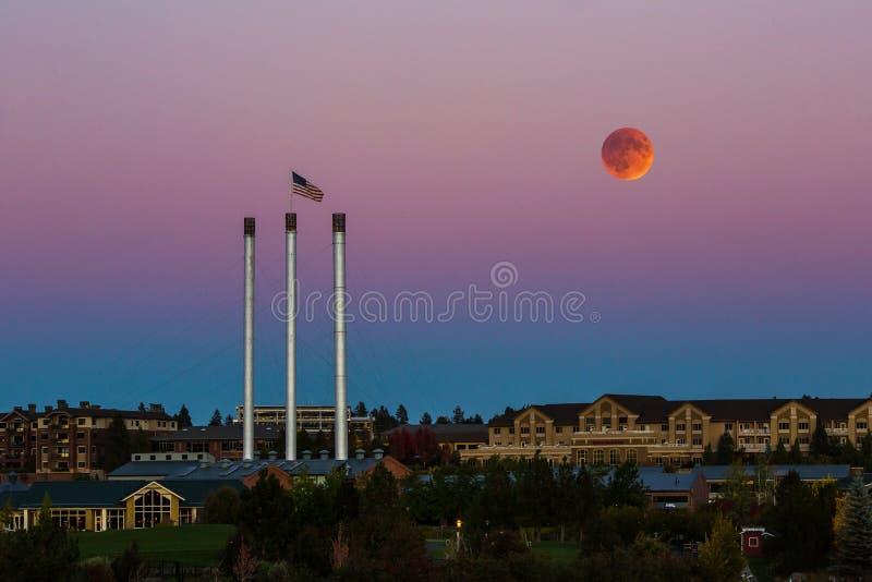 超级血液月亮蚀 库存图片