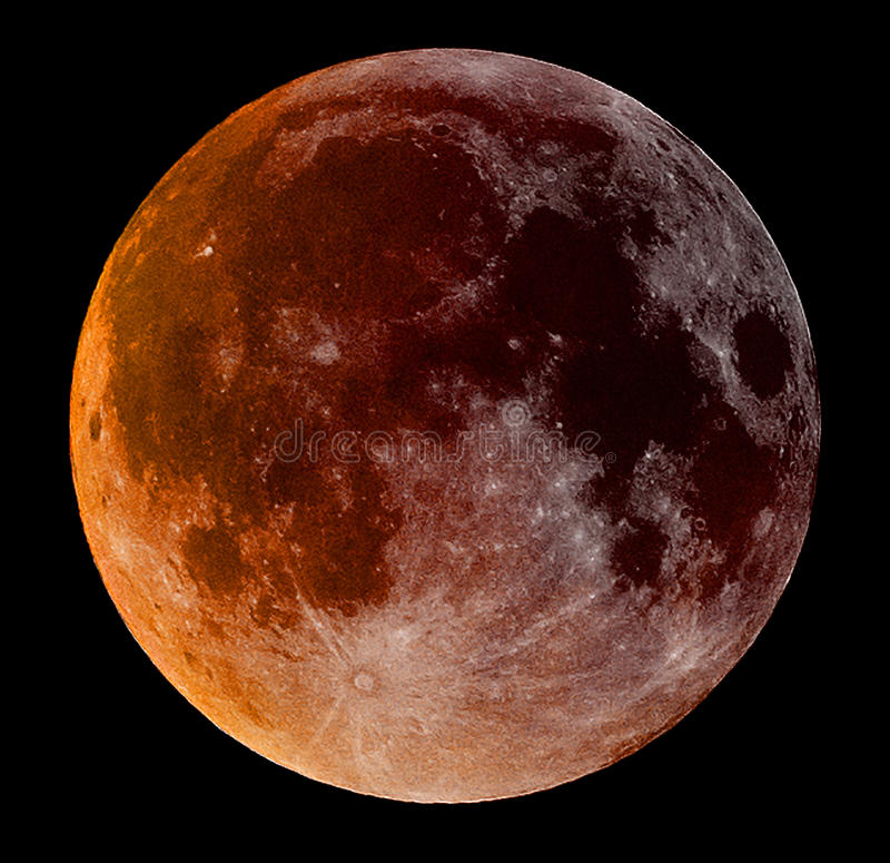 超级血液月亮 库存图片
