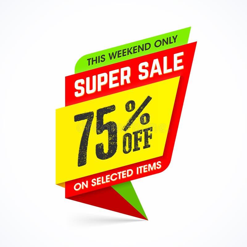 超级销售周末特价优待横幅 库存例证