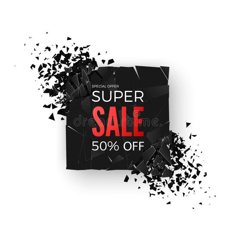 超级销售横幅- 50%特价优待 与抽象爆炸作用元素的布局 设计观念 向量 库存例证