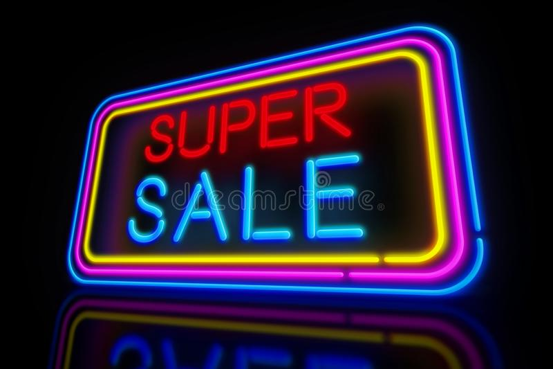 超级销售氖 皇族释放例证