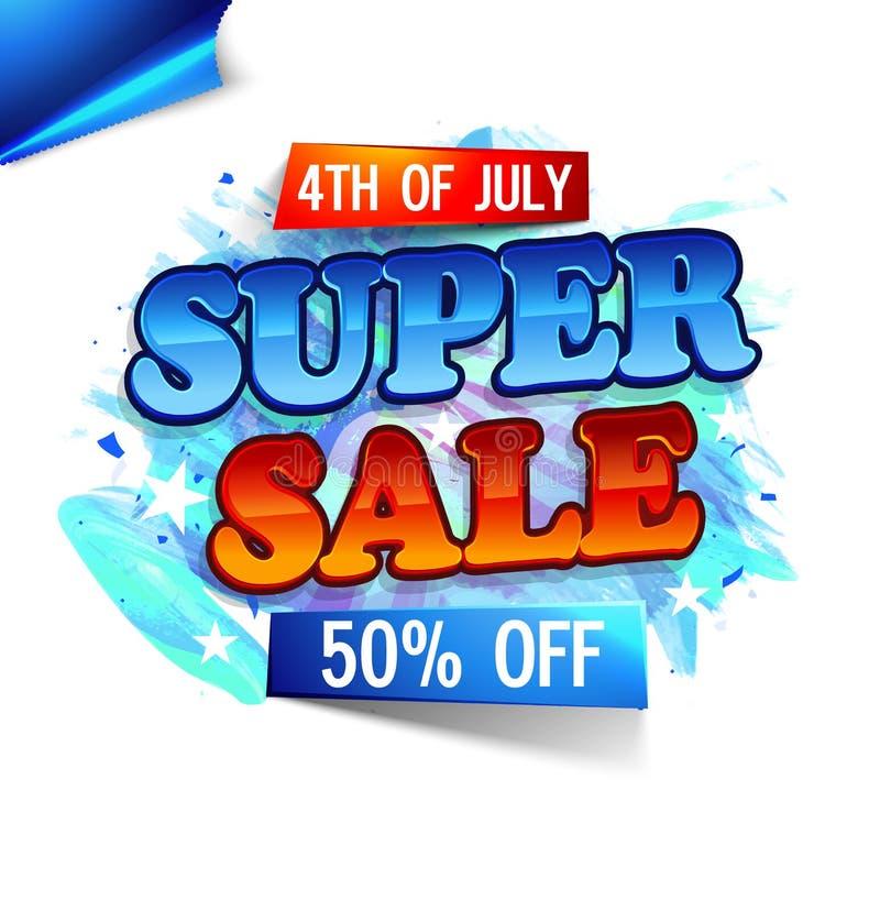 超级销售海报、横幅或者飞行物为7月第4 库存例证