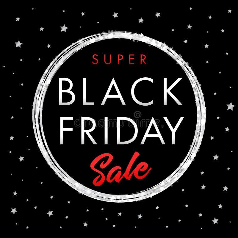超级销售黑色星期五星横幅 库存例证