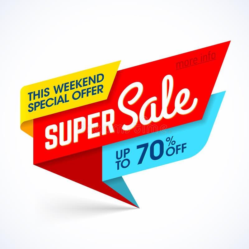 超级销售,这个周末特价优待横幅 皇族释放例证
