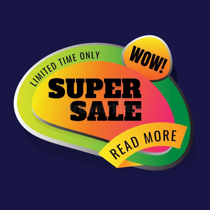超级销售 打折价标记 这个周末特价优待 向量例证