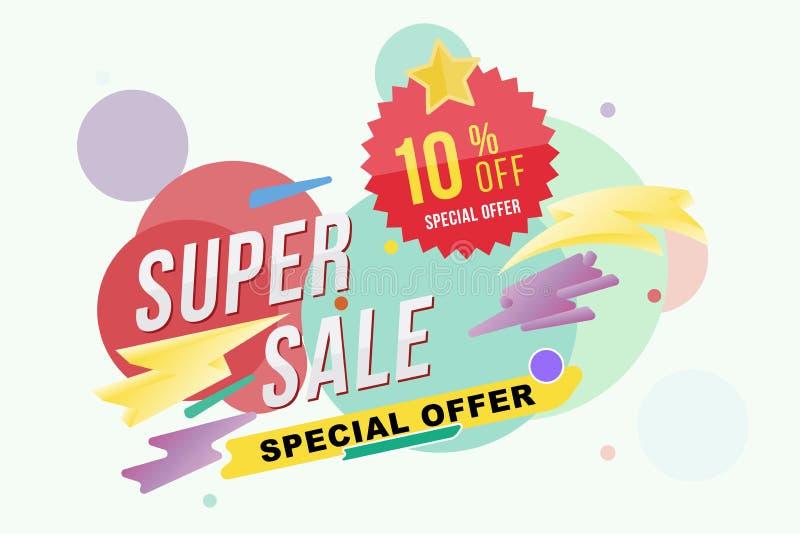 超级销售10%折扣海报和飞行物 设计海报、飞行物和横幅的模板在颜色背景 平的il 皇族释放例证