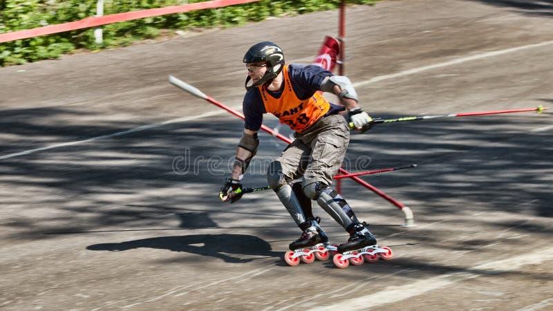 超级障碍滑雪竞争者 图库摄影