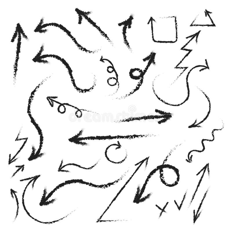 超级集合不同的手拉的箭头,向量图形设计 r 向量例证