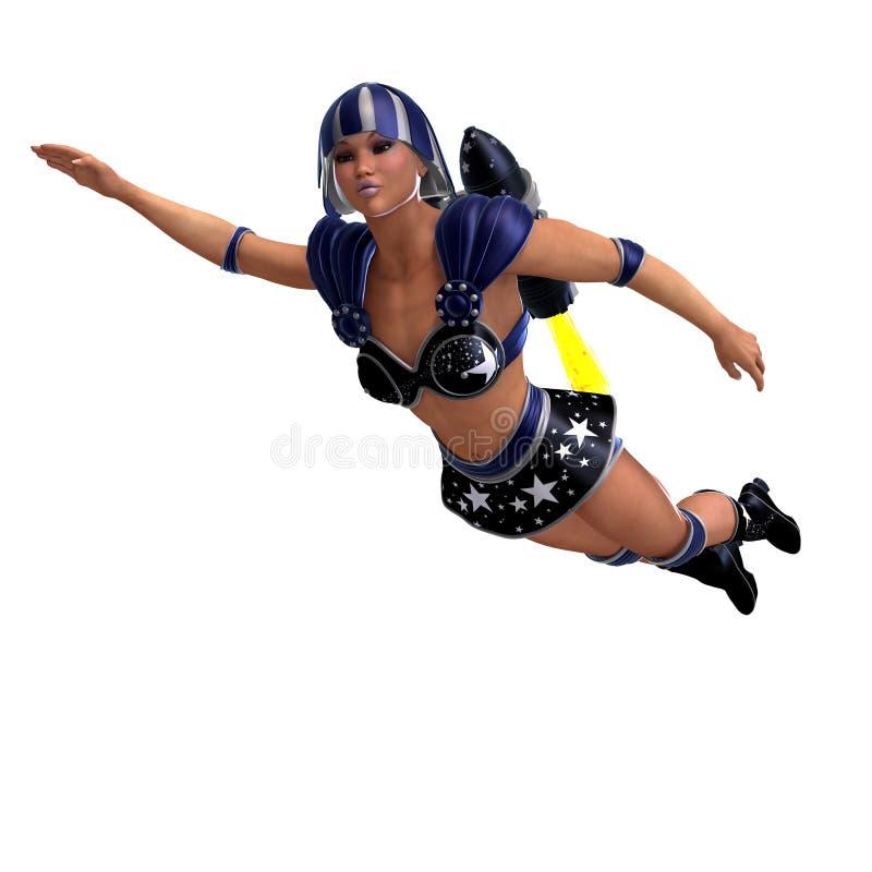 超级黑色蓝色女性英雄的成套装备 库存例证