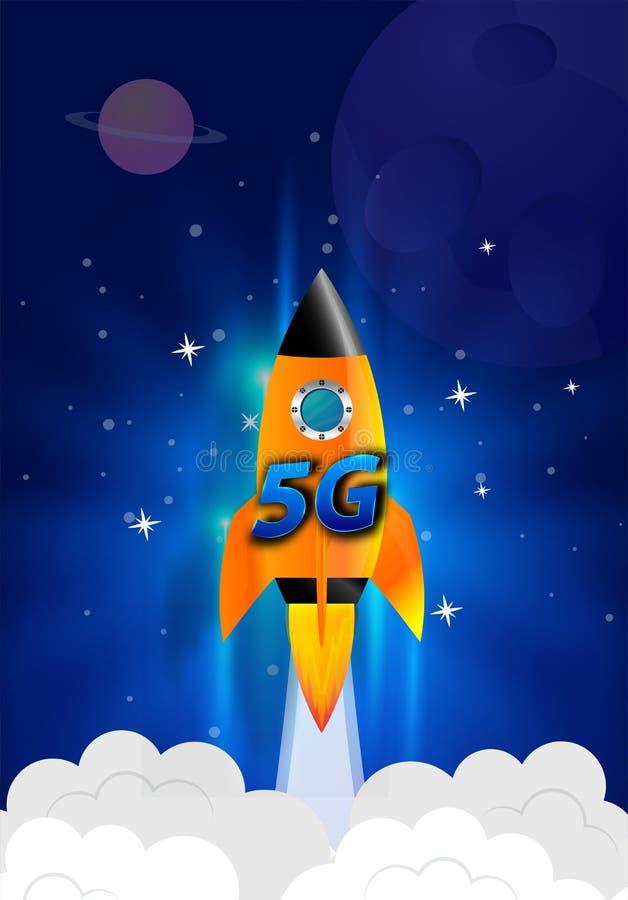 超级5G演变 E 与全球性速度概念的无线网络, 免版税图库摄影