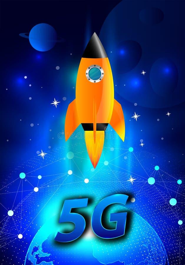 超级5G演变 E 与全球性速度概念的无线网络, 库存照片