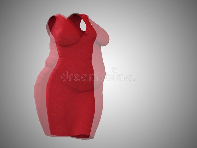 超重肥胖女性礼服成套装备对亭亭玉立的适合健康身体 向量例证