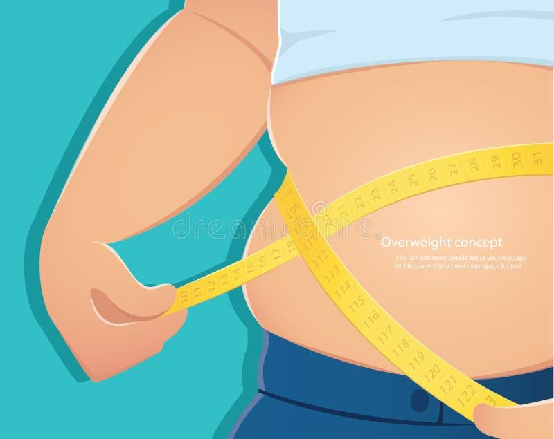 超重,胖子测量他的与蓝色背景传染媒介例证eps10的腰围的用途标度 向量例证