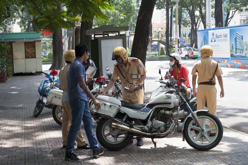 越南交警在工作 免版税库存照片