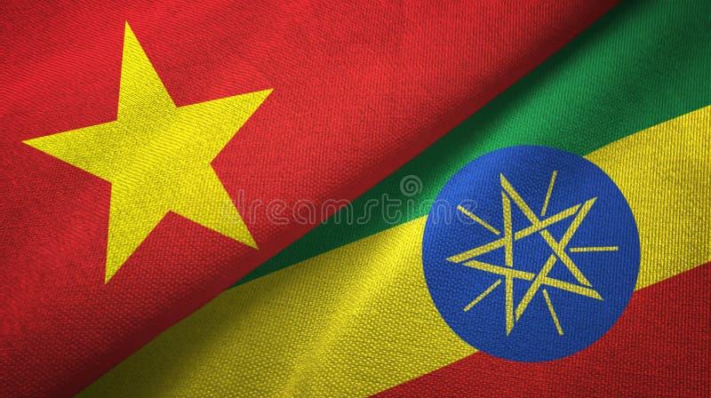 越南和埃塞俄比亚两旗子纺织品布料,织品纹理 皇族释放例证