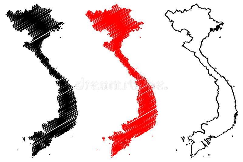 越南地图传染媒介 向量例证