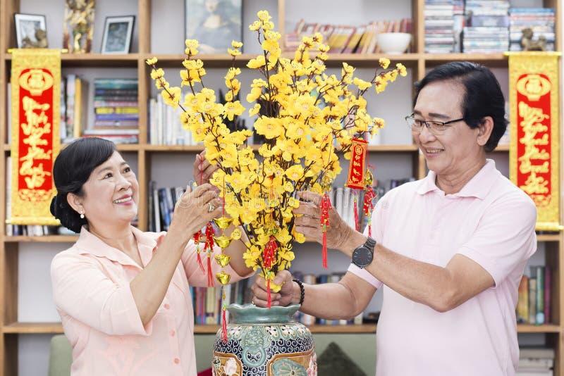 越南家庭庆祝月球新年 图库摄影