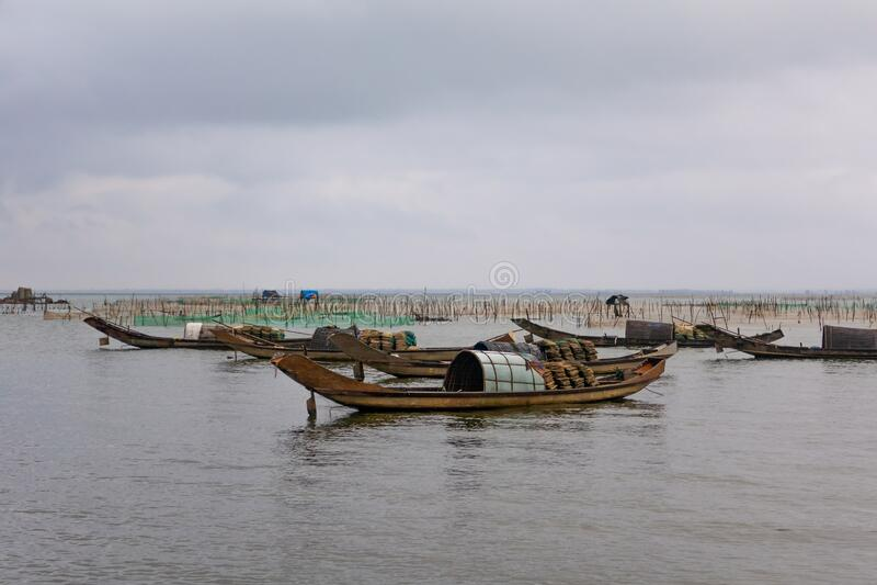 越南岘港附近的渔网和船只 库存照片