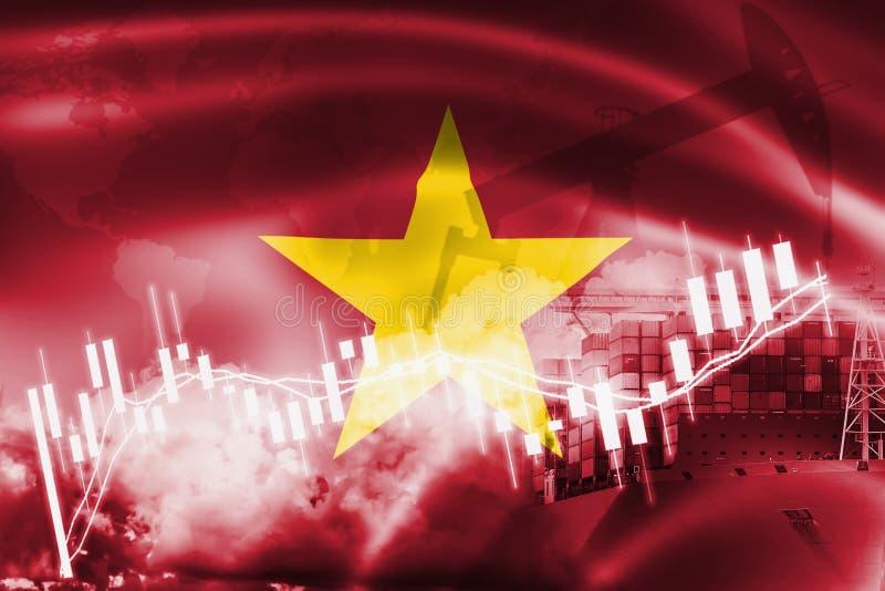 越南旗子、股票市场、交换经济和贸易,石油生产,在出口的集装箱船和进口业和后勤学 库存照片