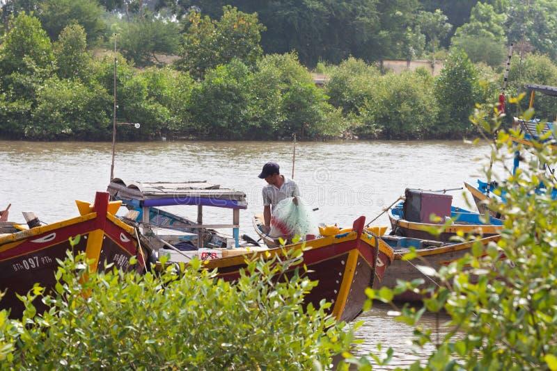 越南渔夫在南越 免版税图库摄影