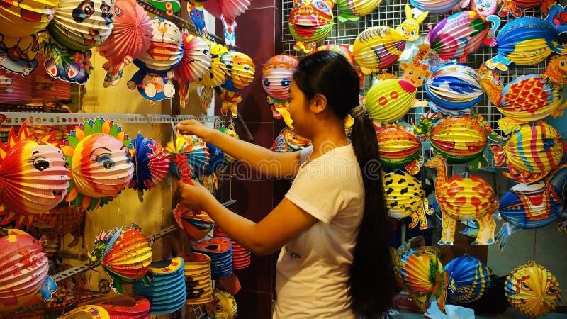 越南灯笼街道,露天市场 免版税库存照片