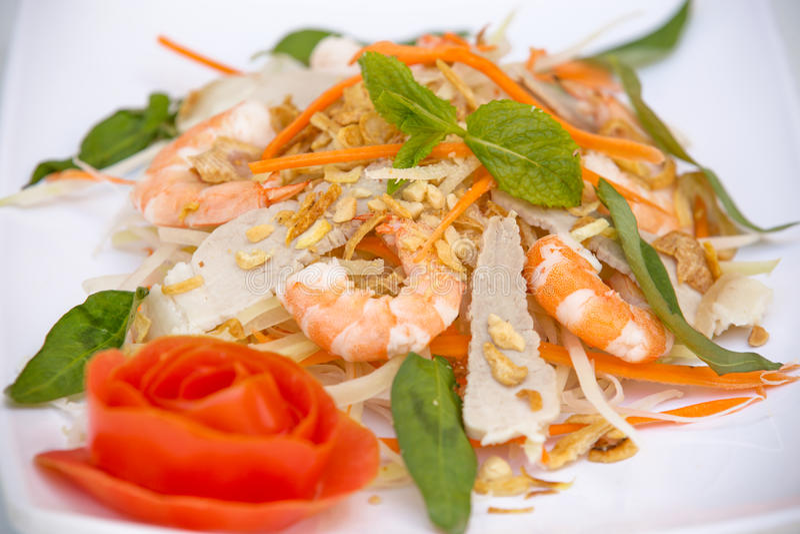 越南烹调-沙拉用大虾和猪肉 免版税图库摄影