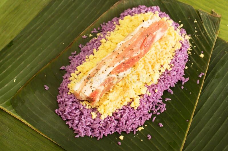 越南猪肉米糕的准备 免版税库存照片