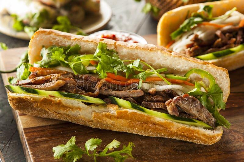 越南猪肉Banh Mi三明治 免版税图库摄影