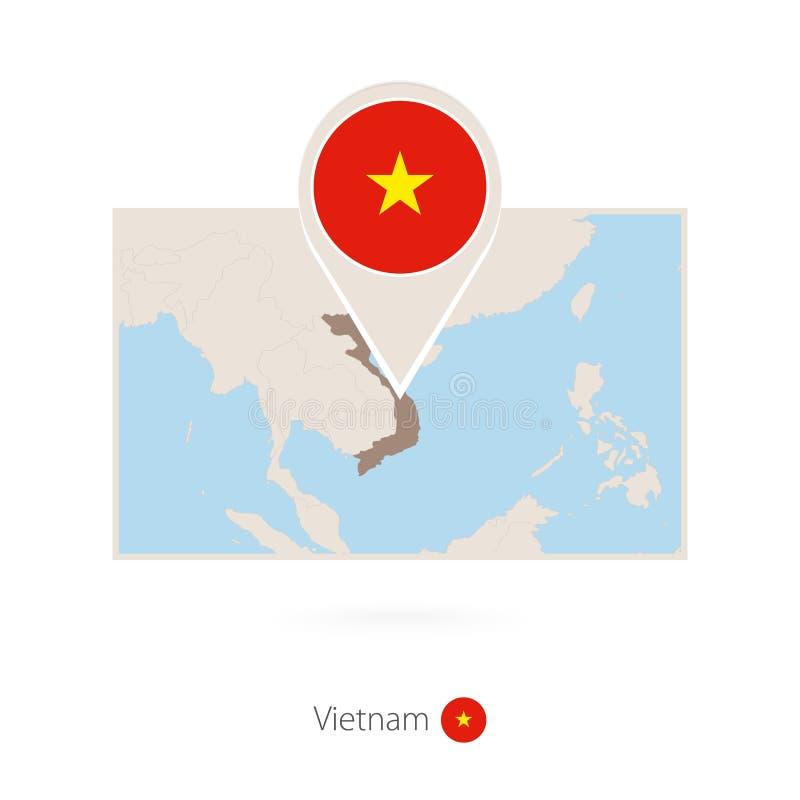 越南的长方形地图有越南的别针象的 皇族释放例证